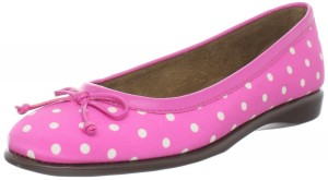 Pink polka dot ballet flat shoes with bow