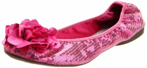 Sequin Sparkly hot pink ballet flats with flower decoration