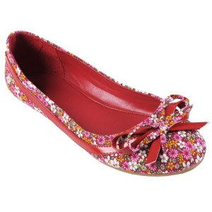 Pink & Red cute floral ballet flats with ribbon: Brinley Co Womens Bow Accent