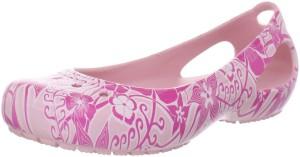 White & pink Floral Ballet flat crocs - Kadee Floral Print