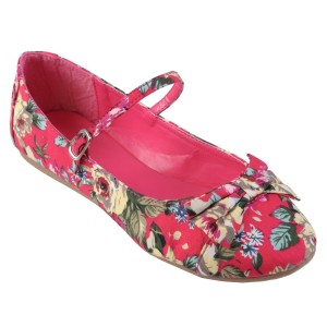 Hot pink floral ballet pumps: Brinley Co Womens Bow Accent Mary Jane Ballet Flat