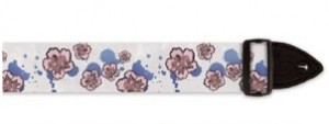 floral white and pink guitar strap with purple spots for girly girls