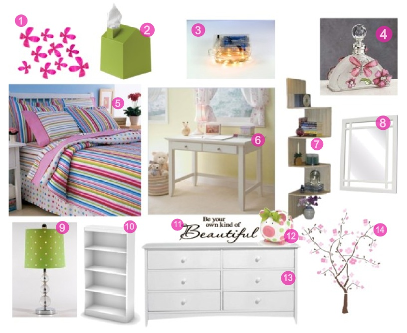 Trendy Contemporary Pink, Green & White Girls Bedroom Decor