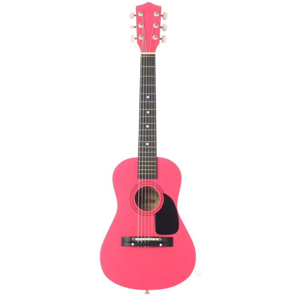 Hot Pink Acoustic Guitar by Lauren