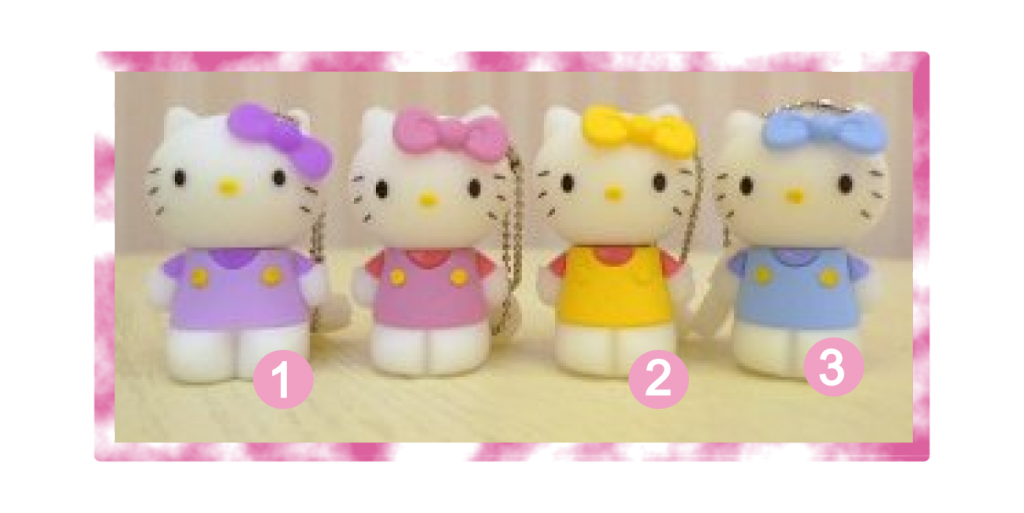 Purple, Yellow & Blue Hello Kitty USB flash drives