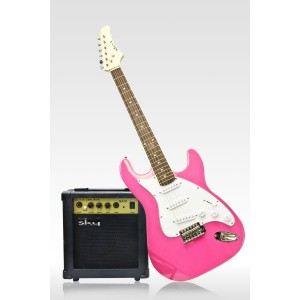 White & Hot Pink Electric Guitar