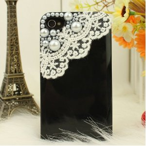 Black iphone case with white lace trim and pearl decoration
