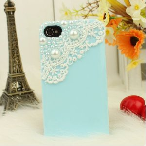 Blue and white lace iphone case with pearl decoration