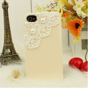Cream White Lace iphone case with pearl decoration