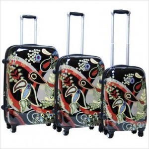 Black floral pattern luggage set by CalPak Woodstock