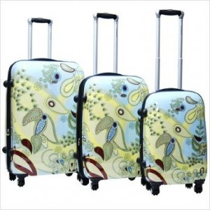Yellow & Blue flower design luggage