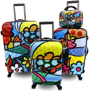 Colorful & Bright arty floral suitcases designed by Romero Britto, made by Heys USA