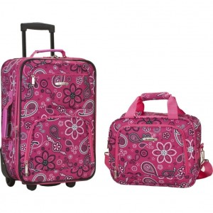 Pink floral luggage by Rockland