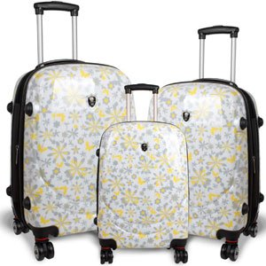 White, yellow and grey floral luggage by Jworld