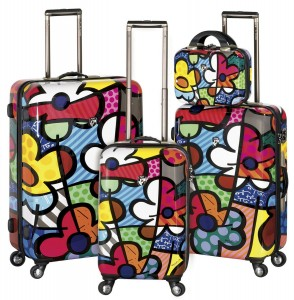 Contemporary art floral luggage designed by Romero Britto, made by Heys USA
