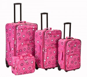 Hot pink flowery pattern luggage by Rockland