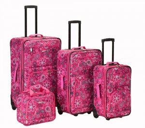 Hot Pink flower print luggage by Rockland
