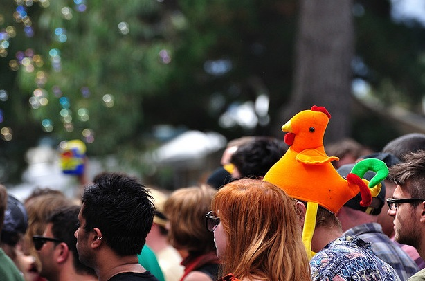 Funny chicken hat at music festival