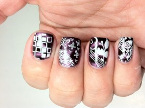 Nail art: purple and white nail stamping patterns