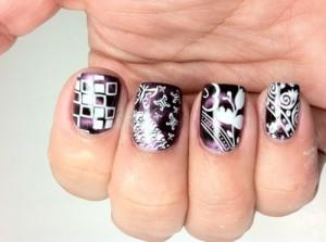 Nail art: purple and white nail stamping patterns