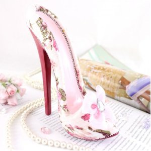 Pink Roses Floral Stiletto Heel Shoe phone holder for iPhone / Samsung Galaxy SII / HTC &#038; more