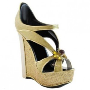 Gold wedge sandal shoe phone holder