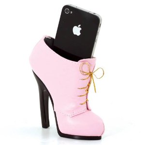 Pink lace-up shoe phone holder