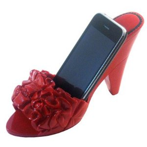 Red shoe phone holder