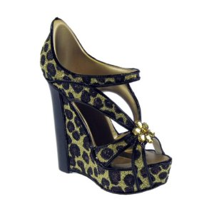 Leopard print wedge sandal shoe phone holder