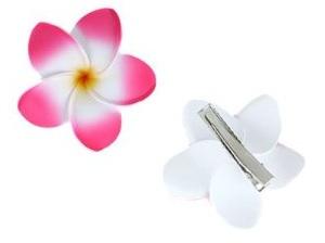 Pink plumeria / frangipani flower hair clip