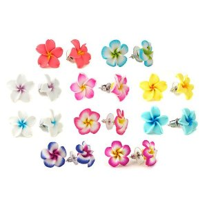 Colorful set of clay plumeria earrings