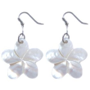 Shell plumeria earrings
