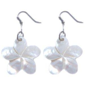 Shell plumeria earrings
