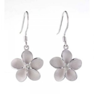 Silver plumeria fish hook earrings
