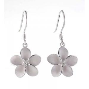 Silver plumeria fish hook earrings