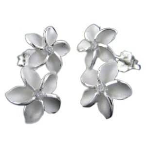 Two flower silver plumeria earrings