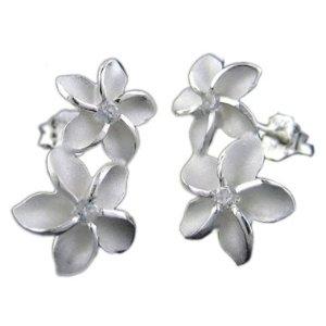 Two flower silver plumeria earrings