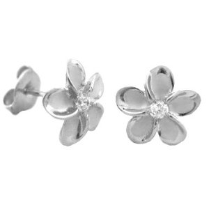 Silver plumeria earring studs