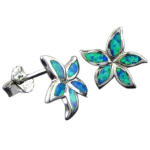 Blue green opal plumeria earring pair
