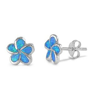 Blue opal stud plumeria earrings