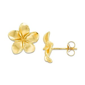 Gold plumeria earrings