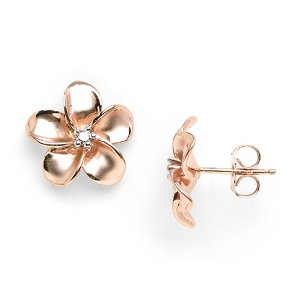 Rose gold plumeria earrings