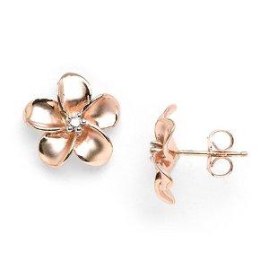Rose gold plumeria earrings