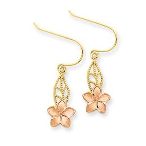 Gold dangling leaf and plumeria flower earrings