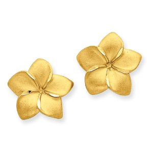 Gold Plumeria / Frangipani Earrings