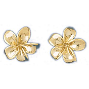 Yellow gold plumeria flower stud earrings