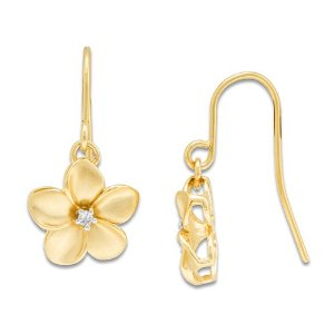 Dangling plumeria gold earrings