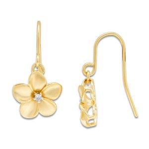 Dangling plumeria gold earrings