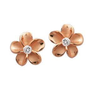 Rose gold plumeria stud earrings with Cubic zirconia