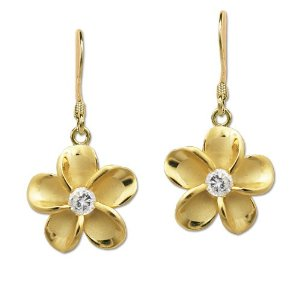 Gold plumeria dangling earrings